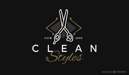 Scissors cutting tool logo template
