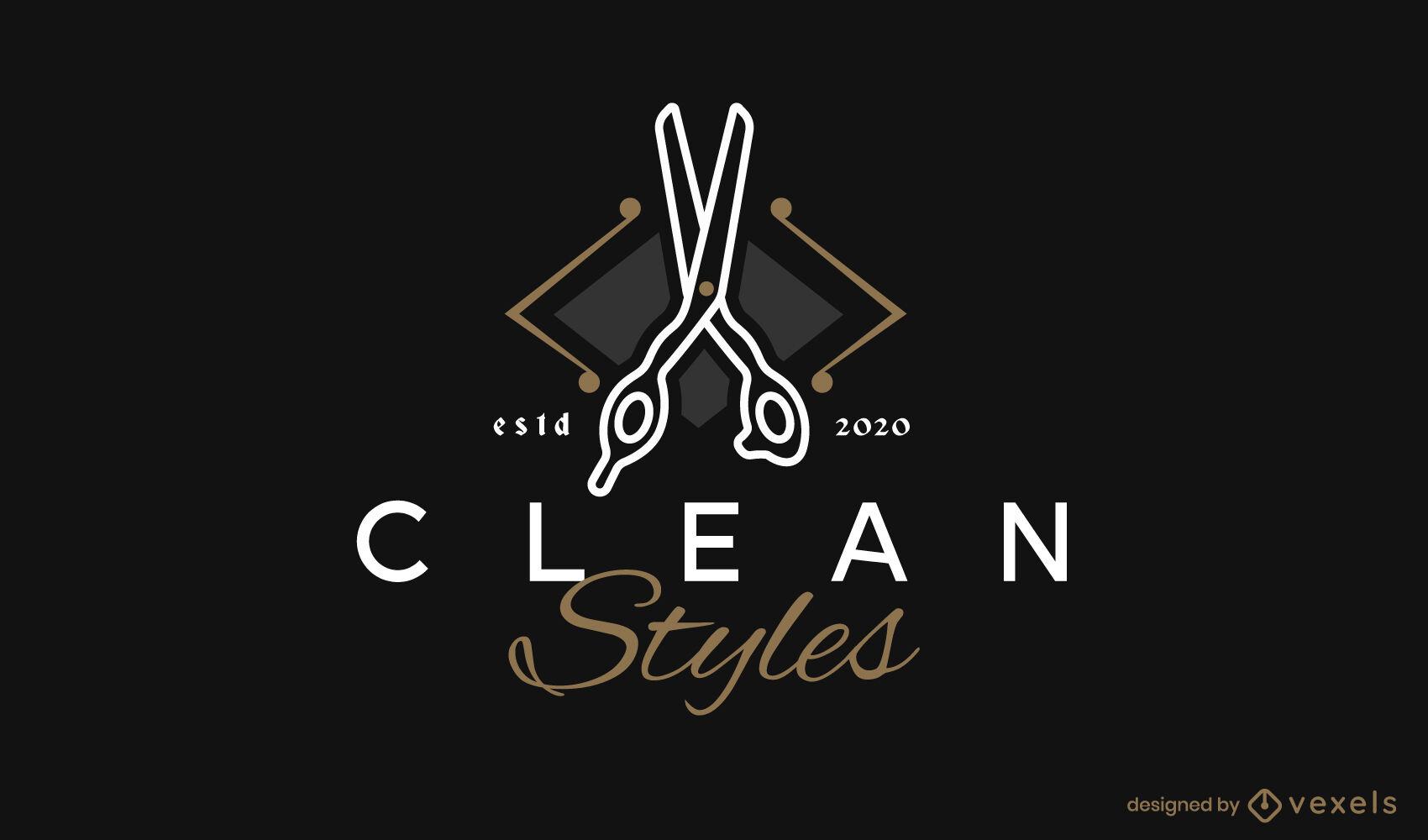Plantilla de logotipo de herramienta de corte de tijeras