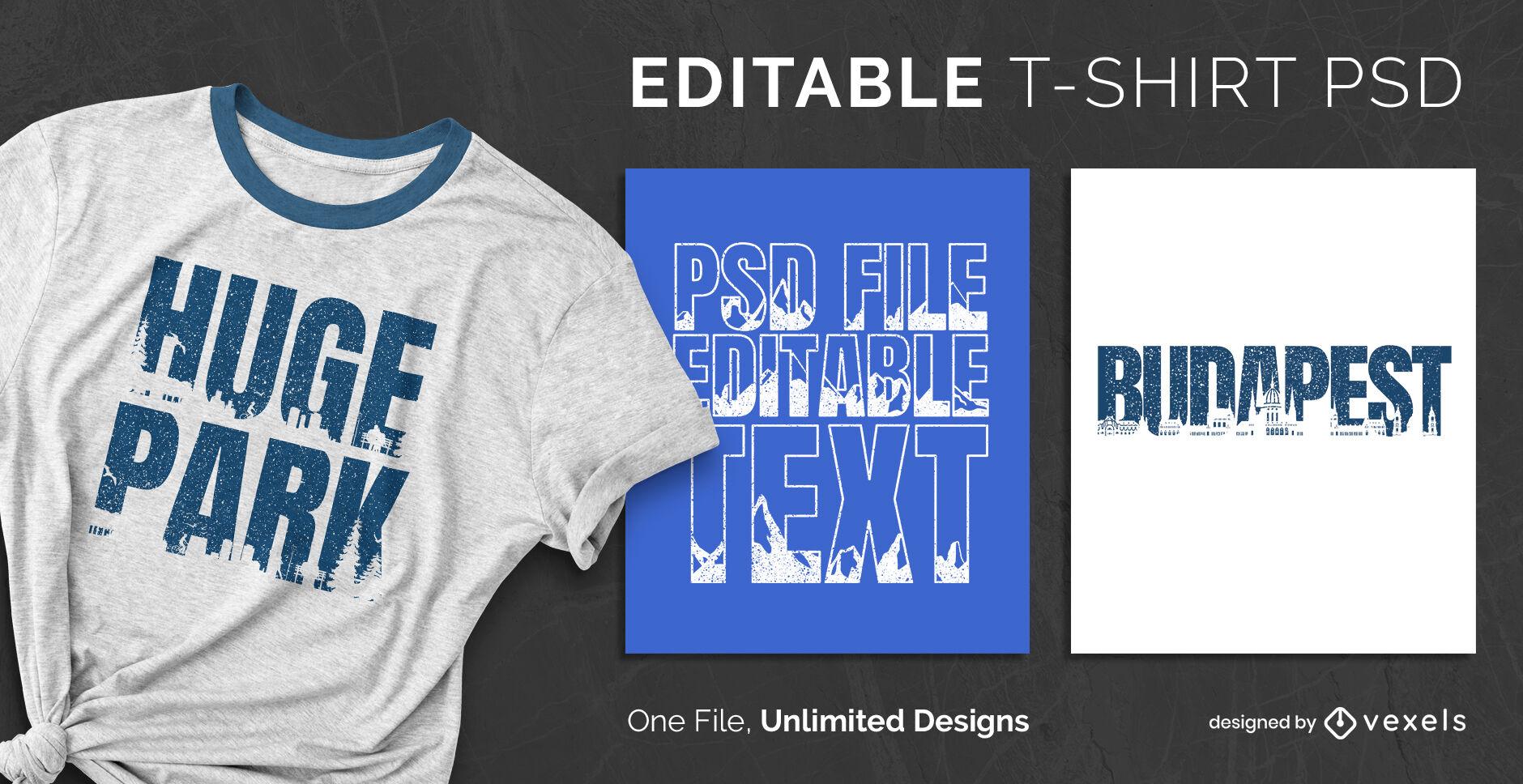 Skyline-Texteffekt skalierbare PSD-T-Shirt-Vorlage