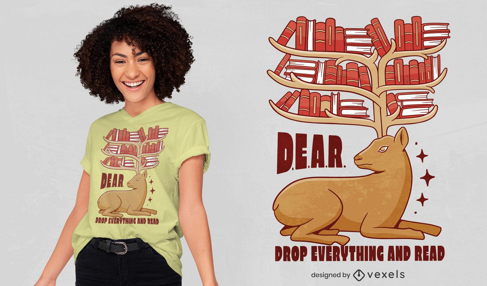 Hirschtier mit Buchbibliothek-T-Shirt-Design