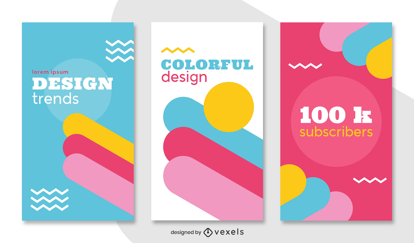 Colorful flat geometric instagram story template