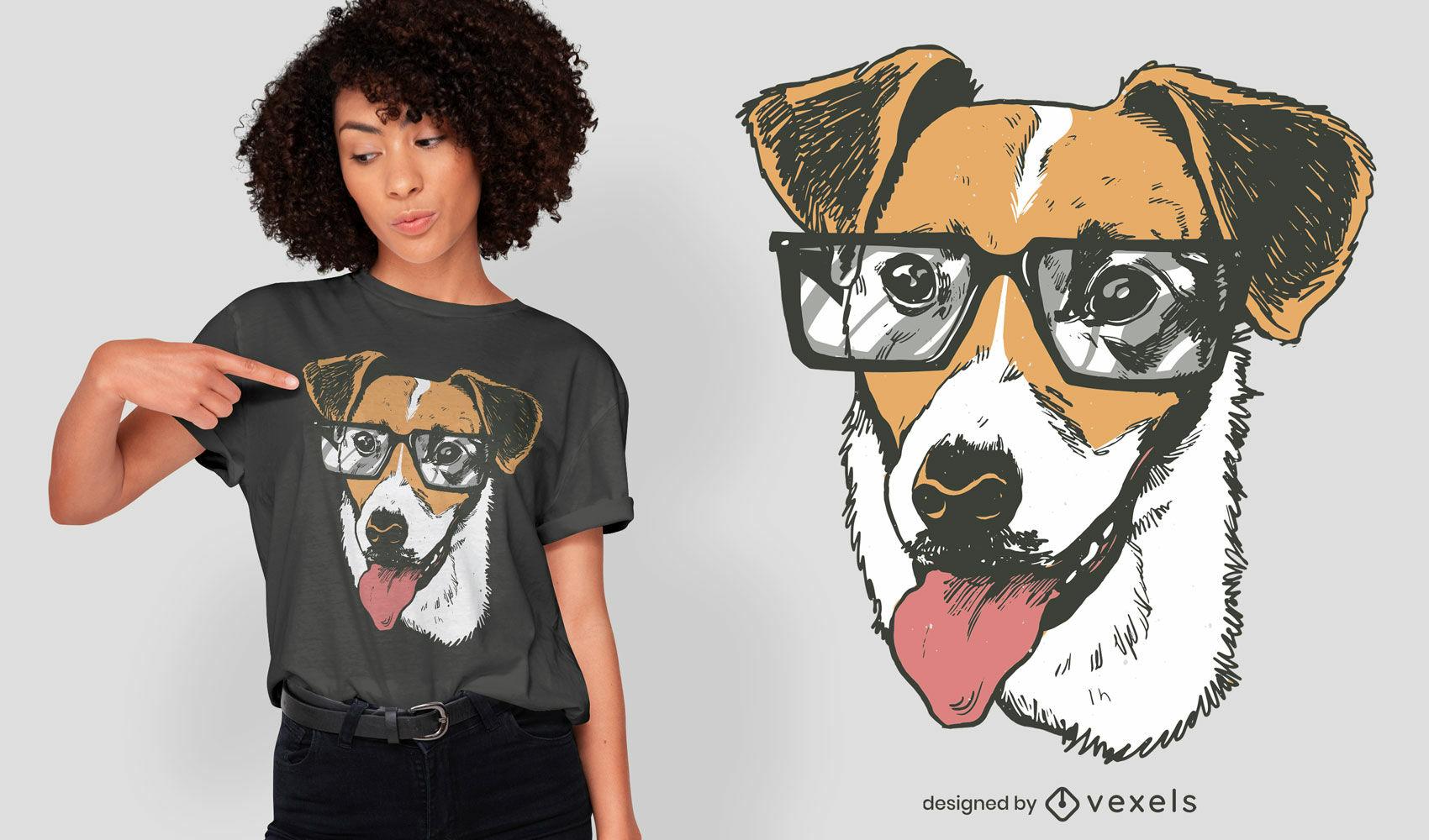 Dise?o de camiseta de perro terrier con gafas.
