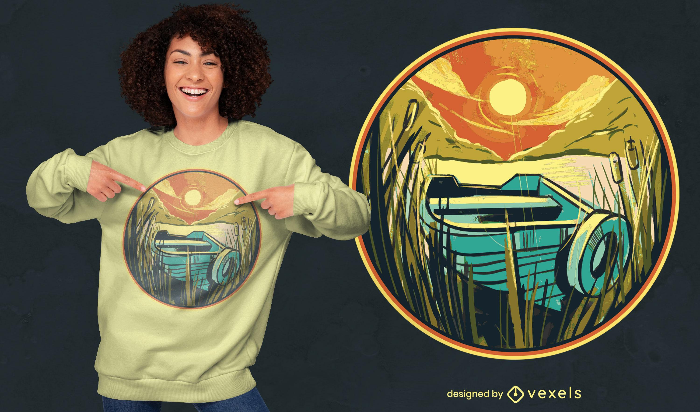 Boat on swamp landscape t-shirt design