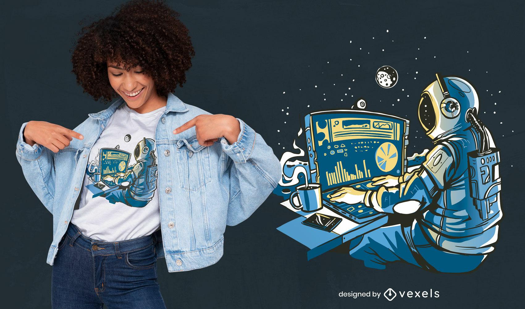 Astronauta espacial en diseño de camiseta de computadora.