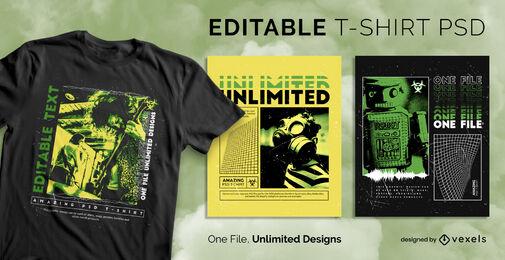 Radioactive vaporwave scalable psd t-shirt template