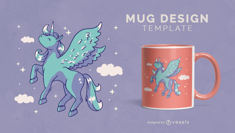 Unicórnio mágico com design de caneca de asas