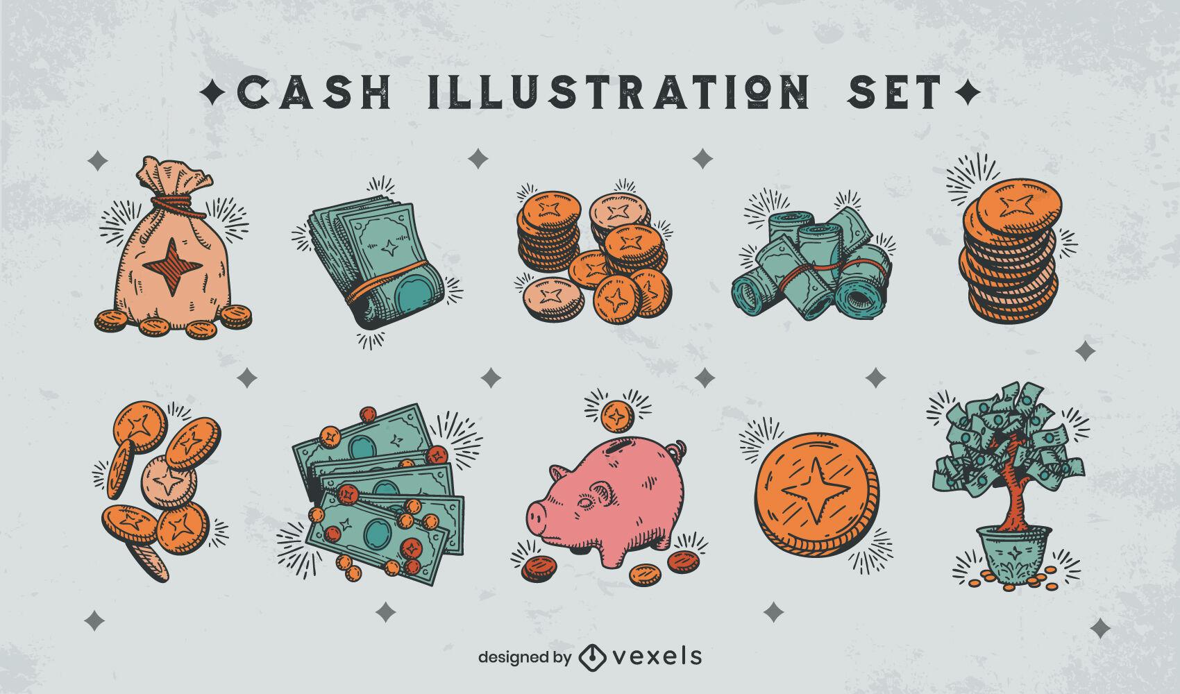 Conjunto de cor de elementos de dinheiro desenhado à mão
