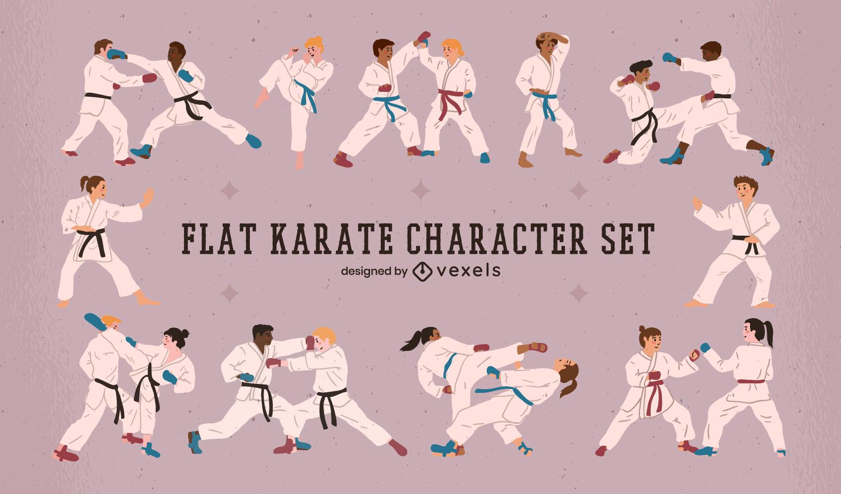 Karate characters sport set