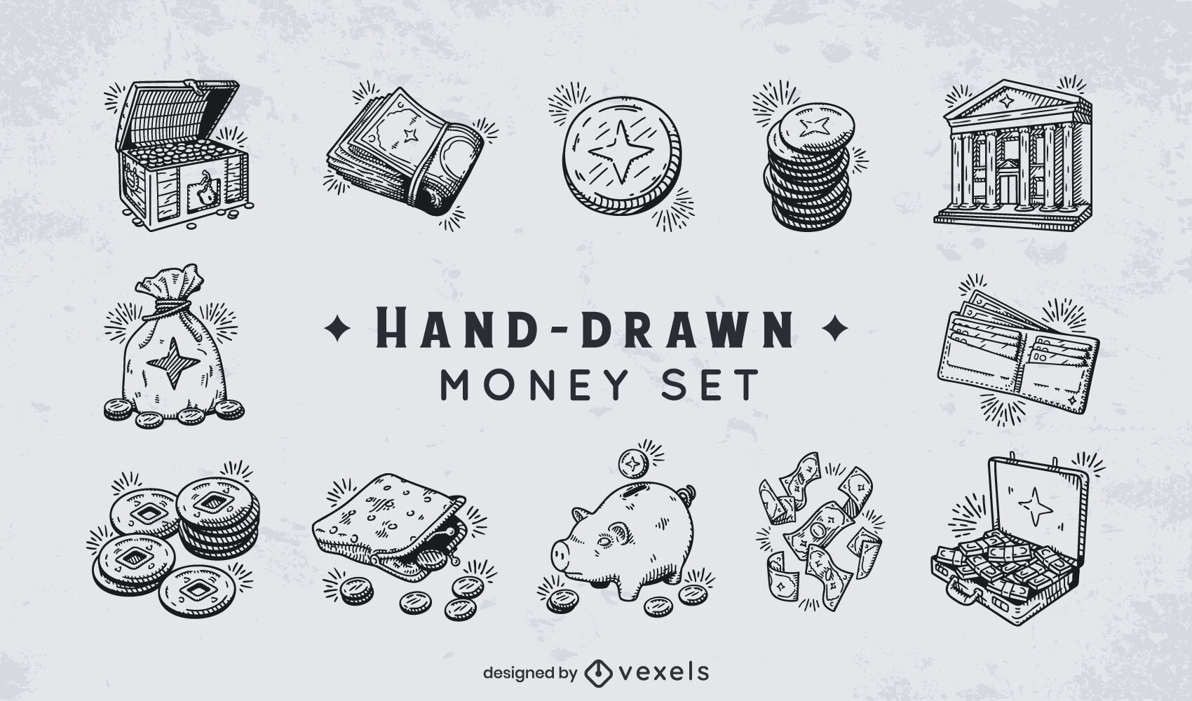 Conjunto de dibujado a mano de dinero en efectivo