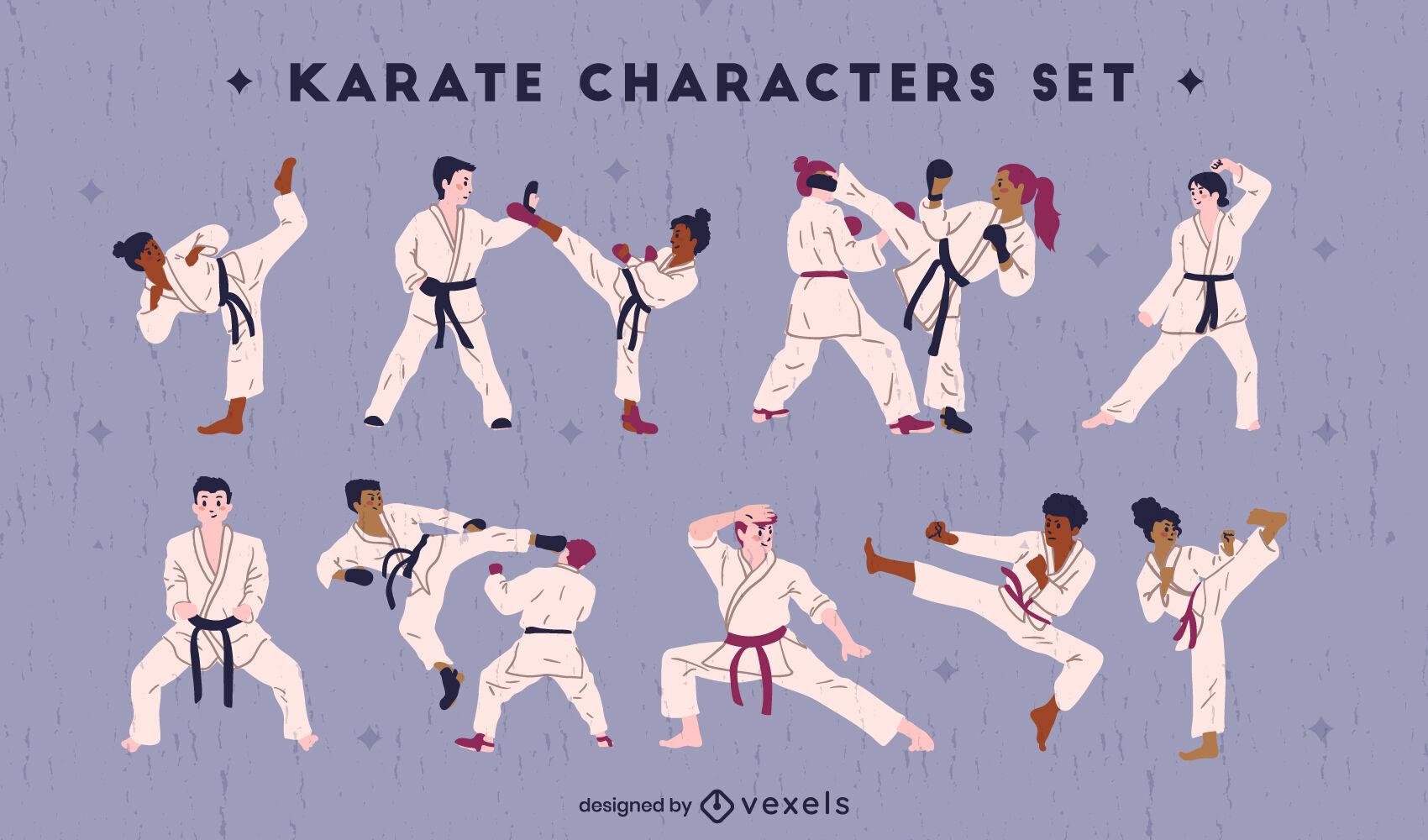 Colección de personajes de karate plana.