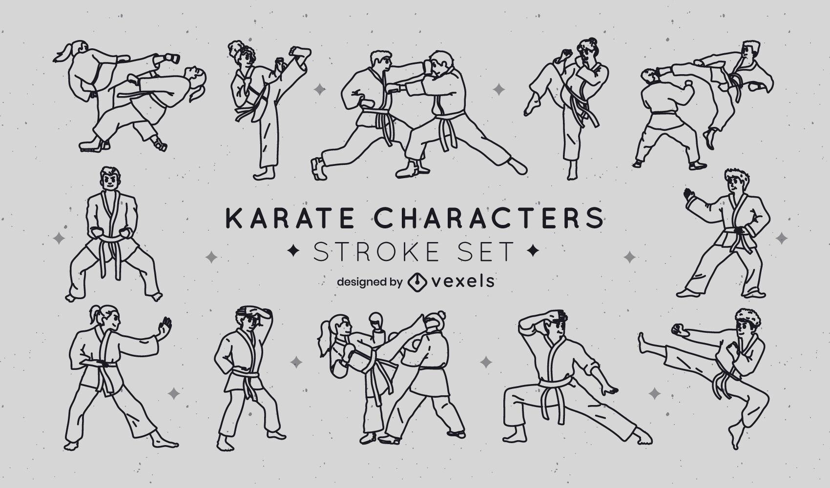 Trazo de colección de personajes de karate