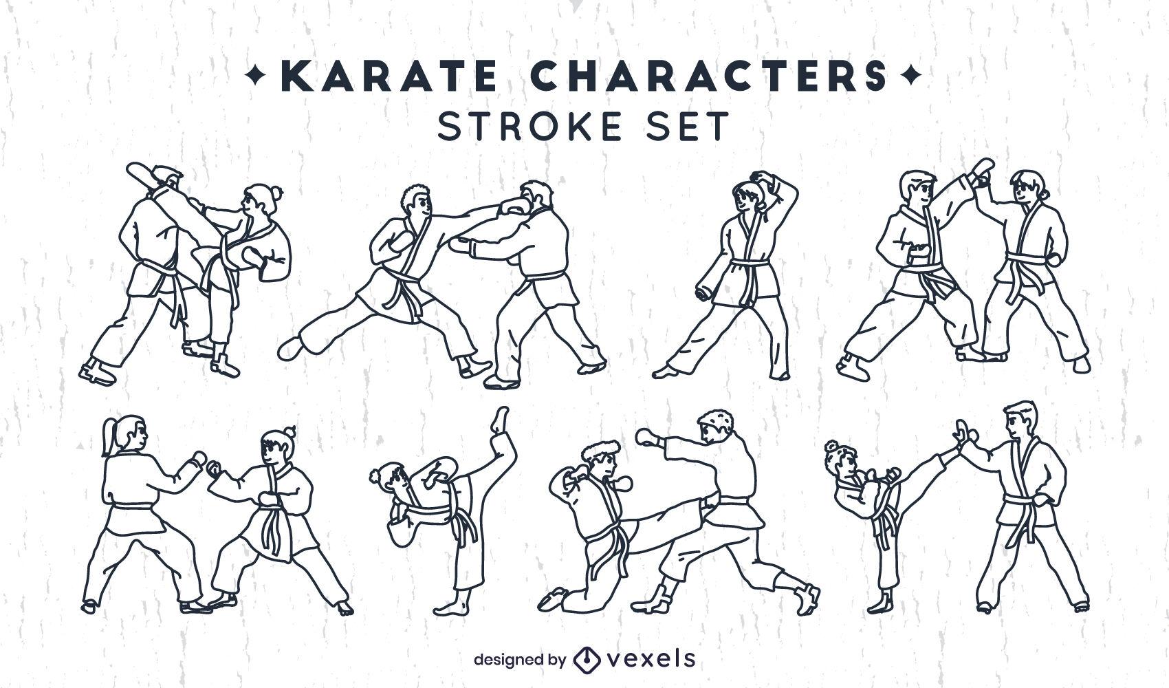 Conjunto de personajes de karate de trazo de elementos.
