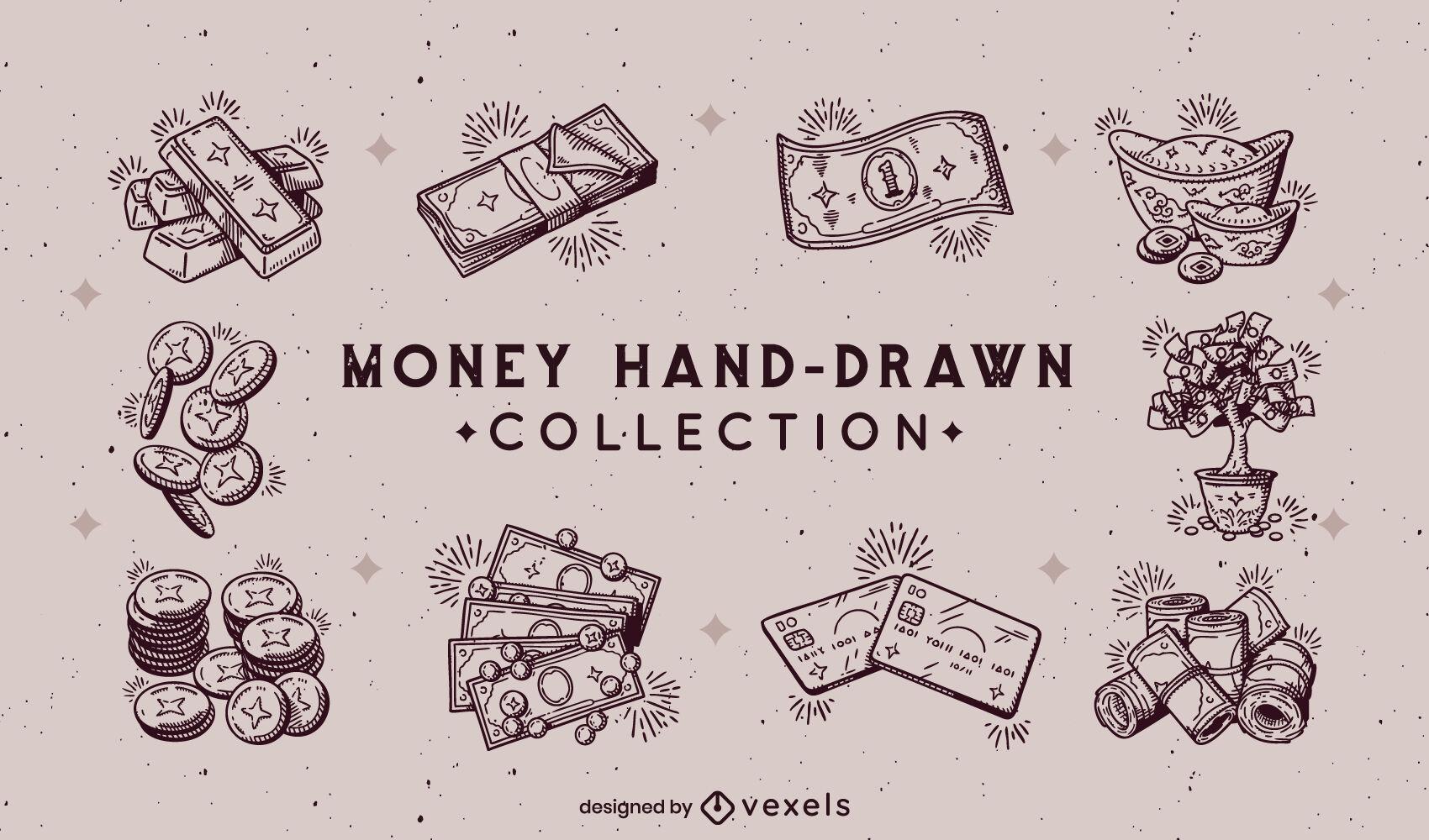 Conjunto de elementos de dinero dibujados a mano