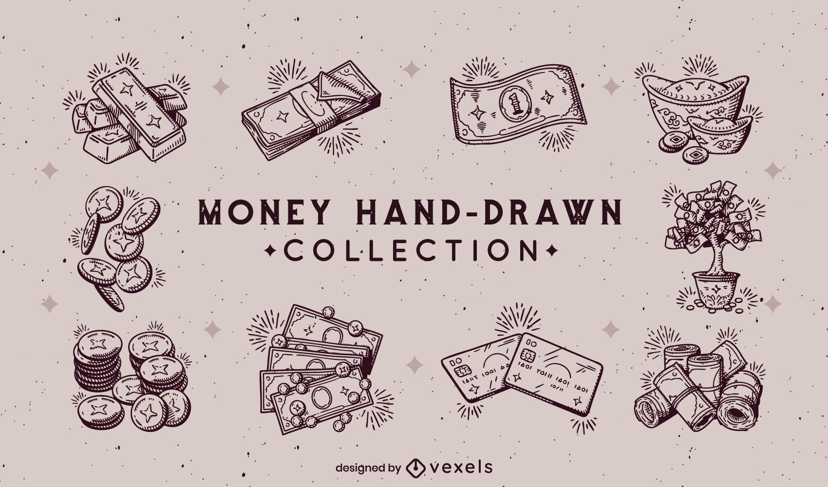 Money items set hand drawn