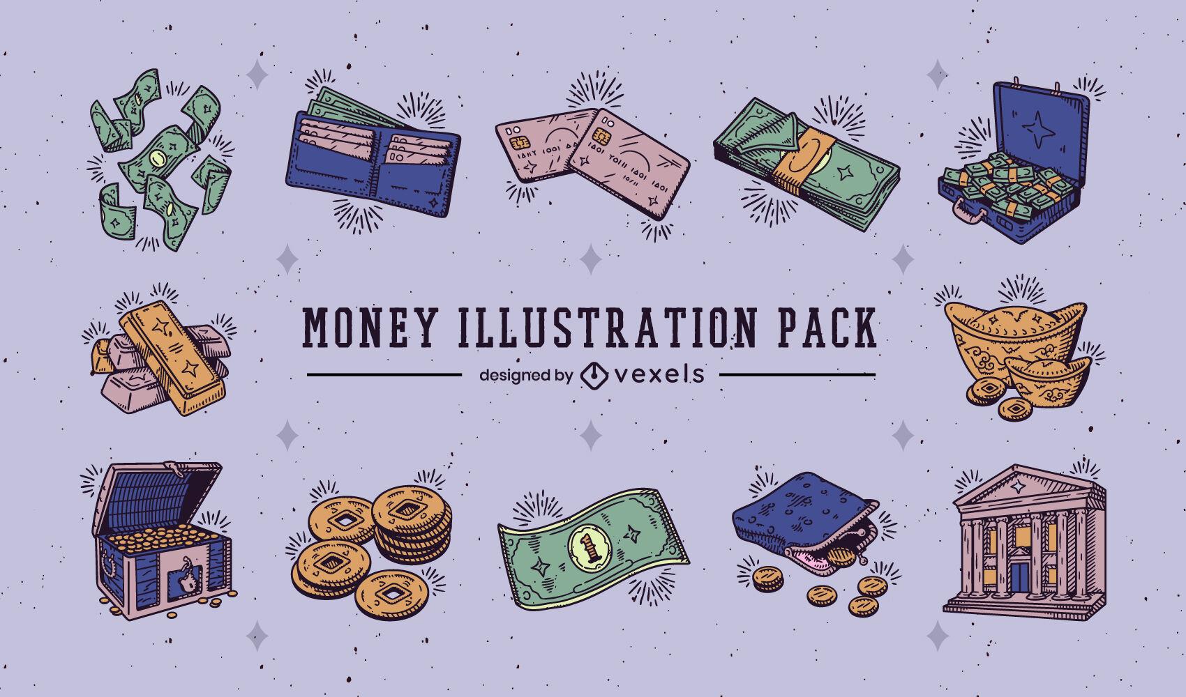 Itens de dinheiro embalados em cores desenhadas ? m?o