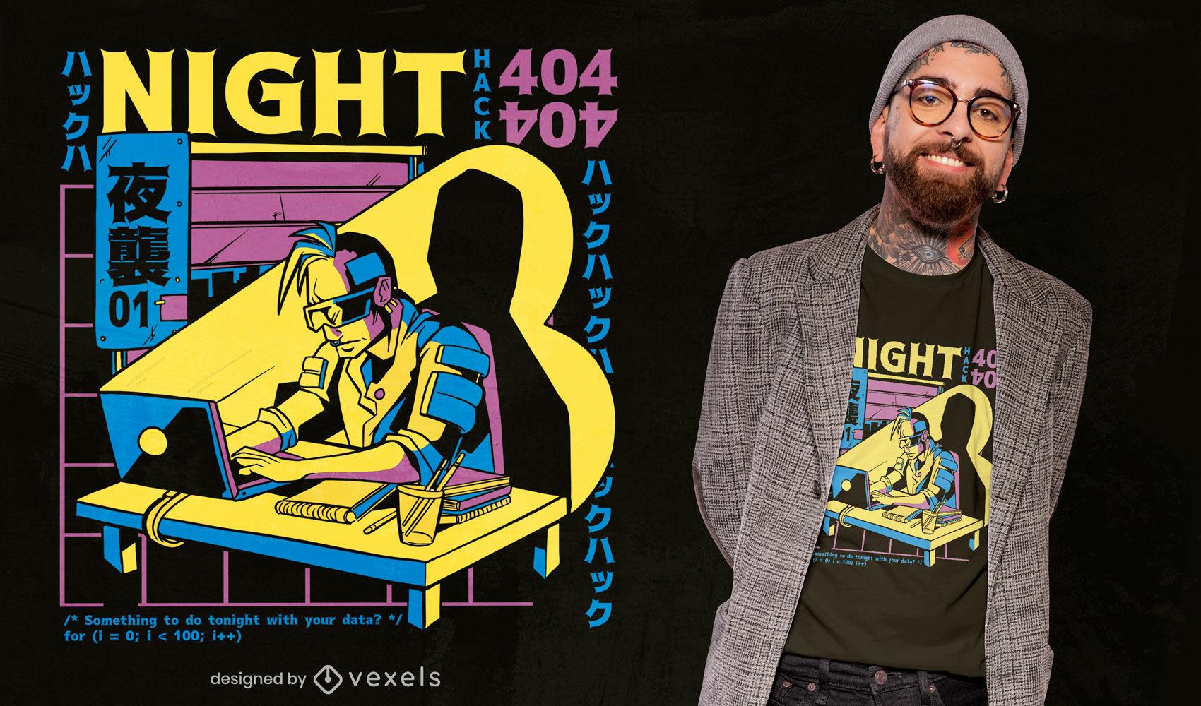 Design bacana de camiseta cyberpunk