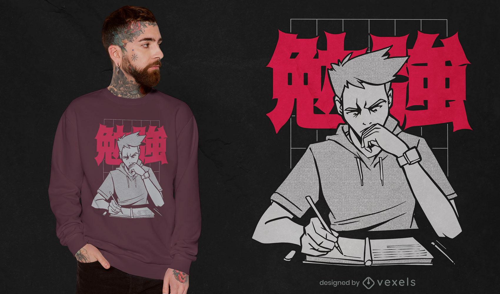 Anime adolescente estudiando diseño de camiseta.