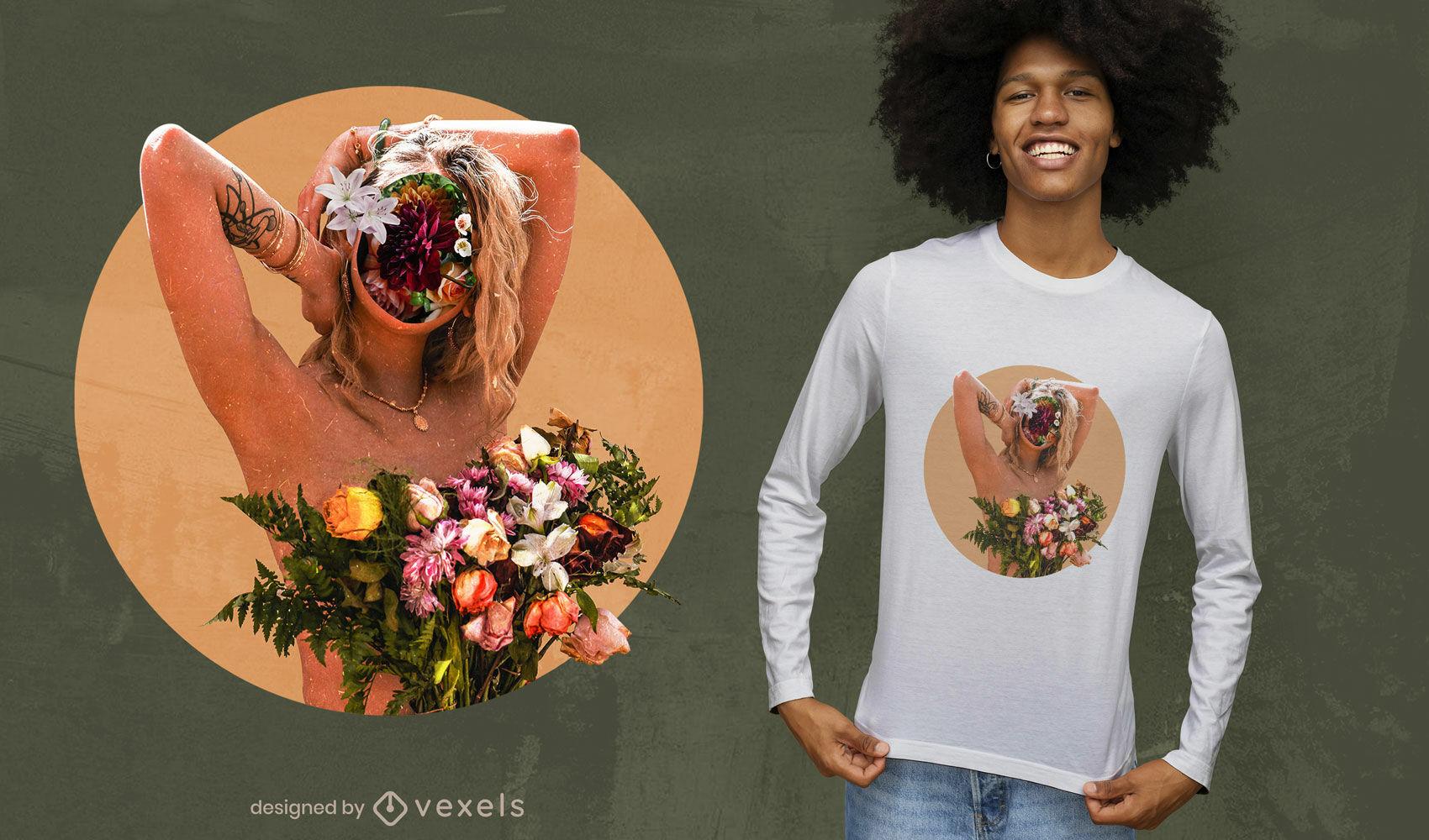 Diseño de camiseta psd de niña de collage de flores