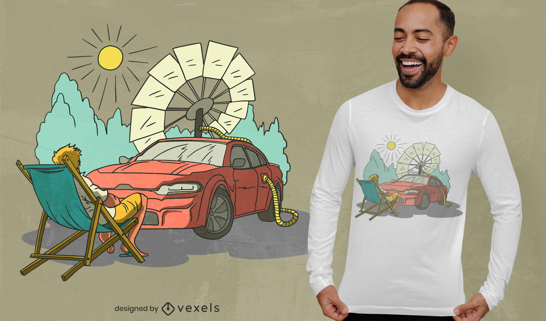 Diseño de camiseta de coche solar fresco