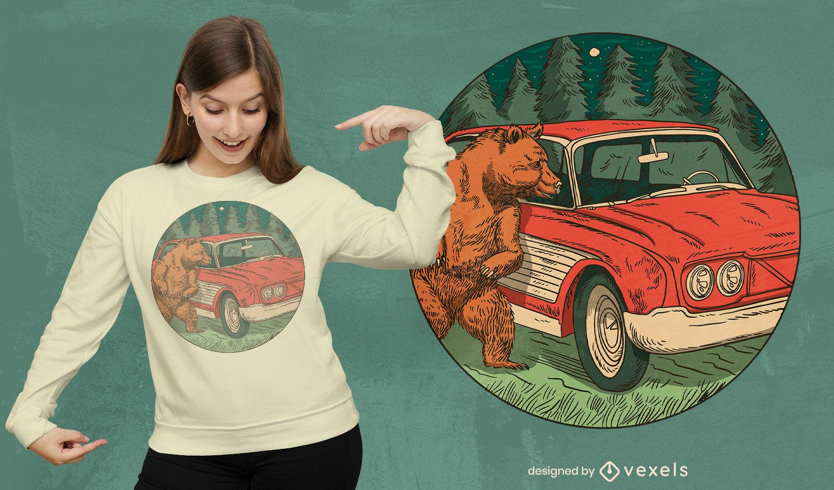 Desenho de t-shirt de urso e carro