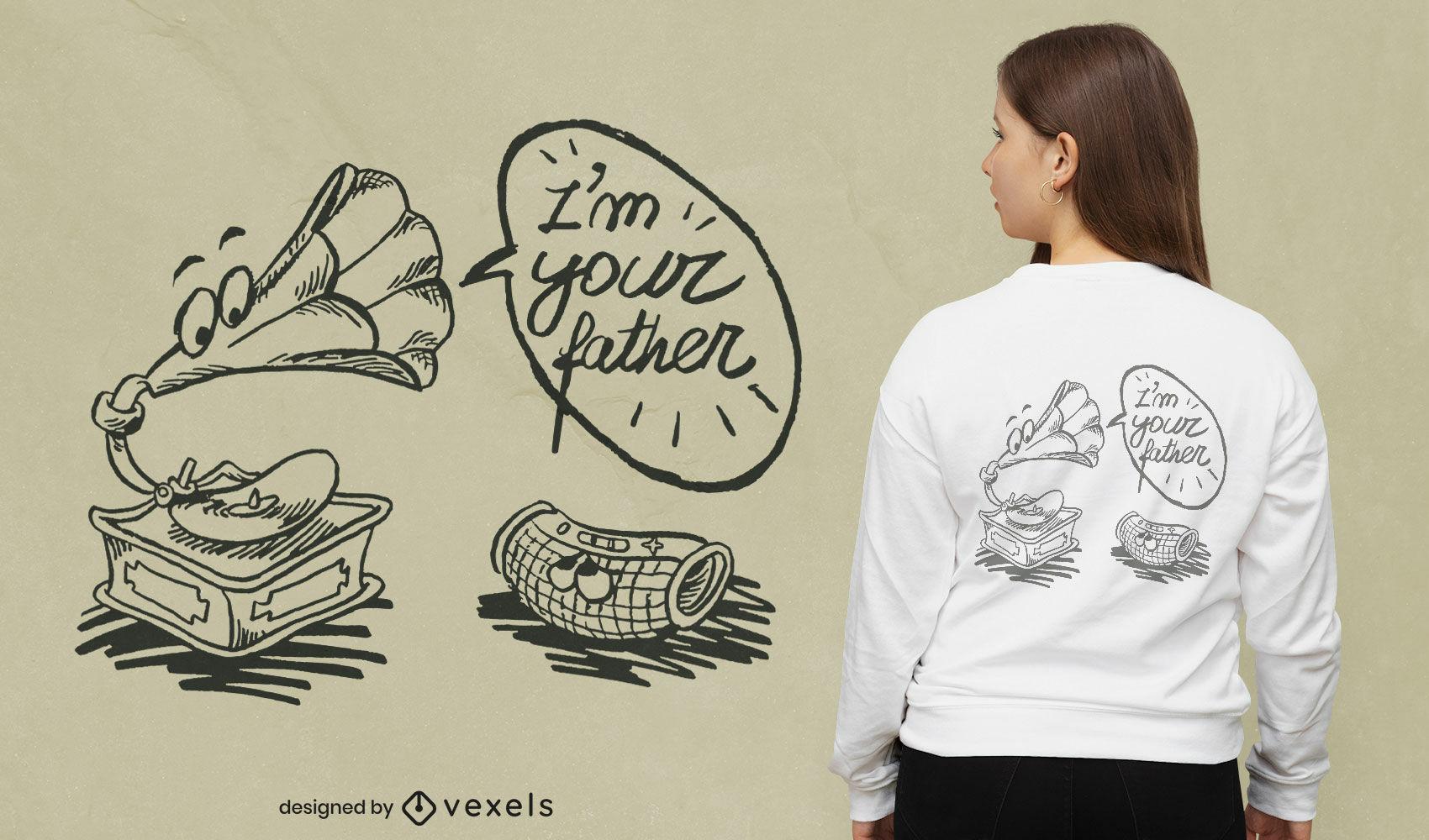 Diseño de camiseta de música divertida