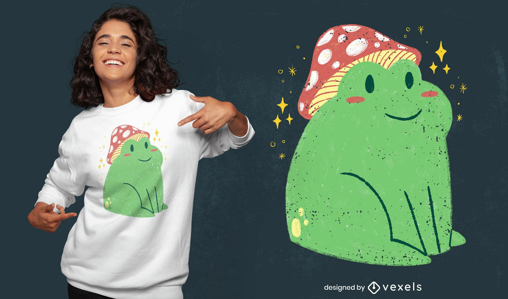 Cute frog with mushroom sitting psd t-shirt design