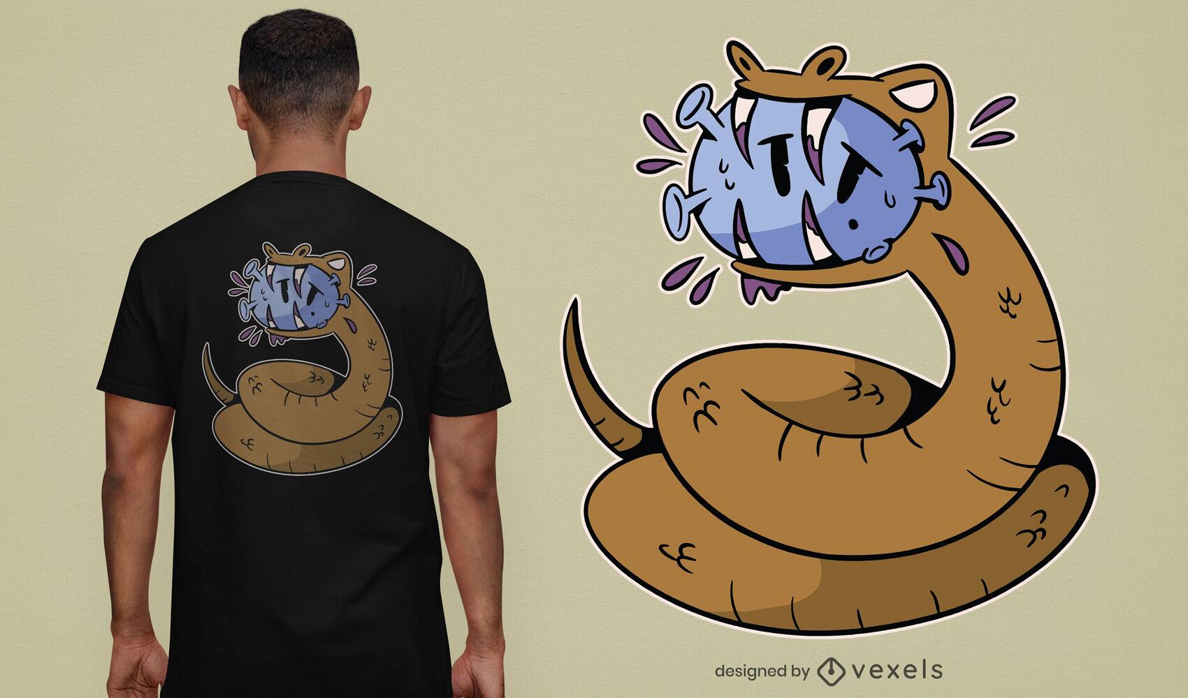 Cooles schlangenbeißendes Covid-T-Shirt-Design