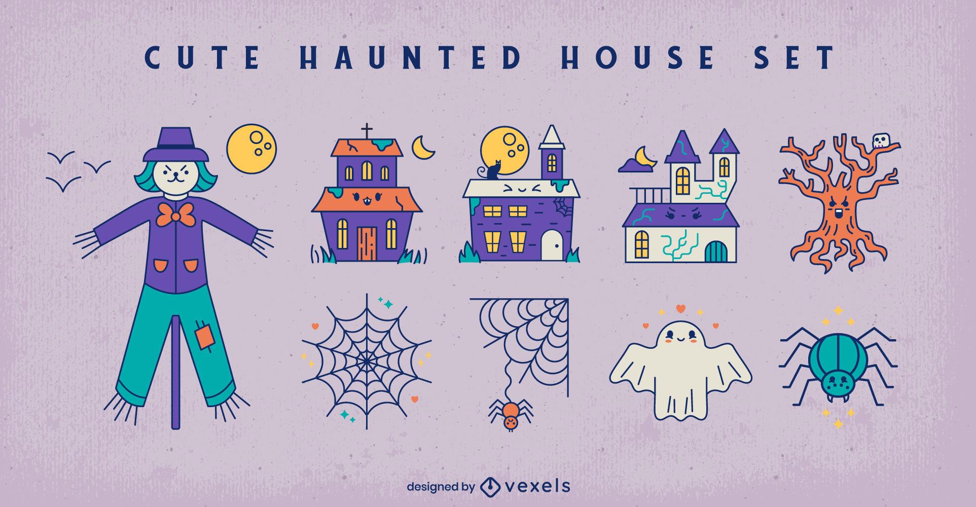Conjunto de elementos lindos de halloween de casa embrujada