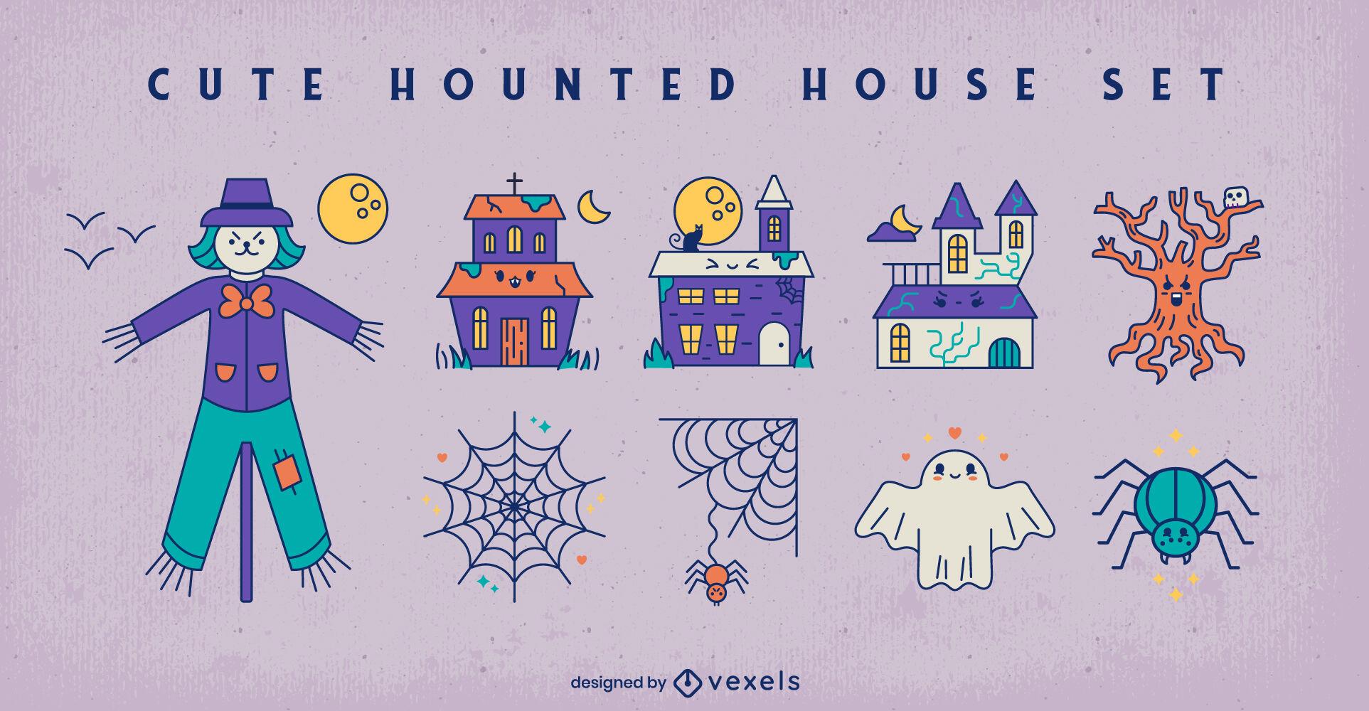 Haunted house halloween cute elements set
