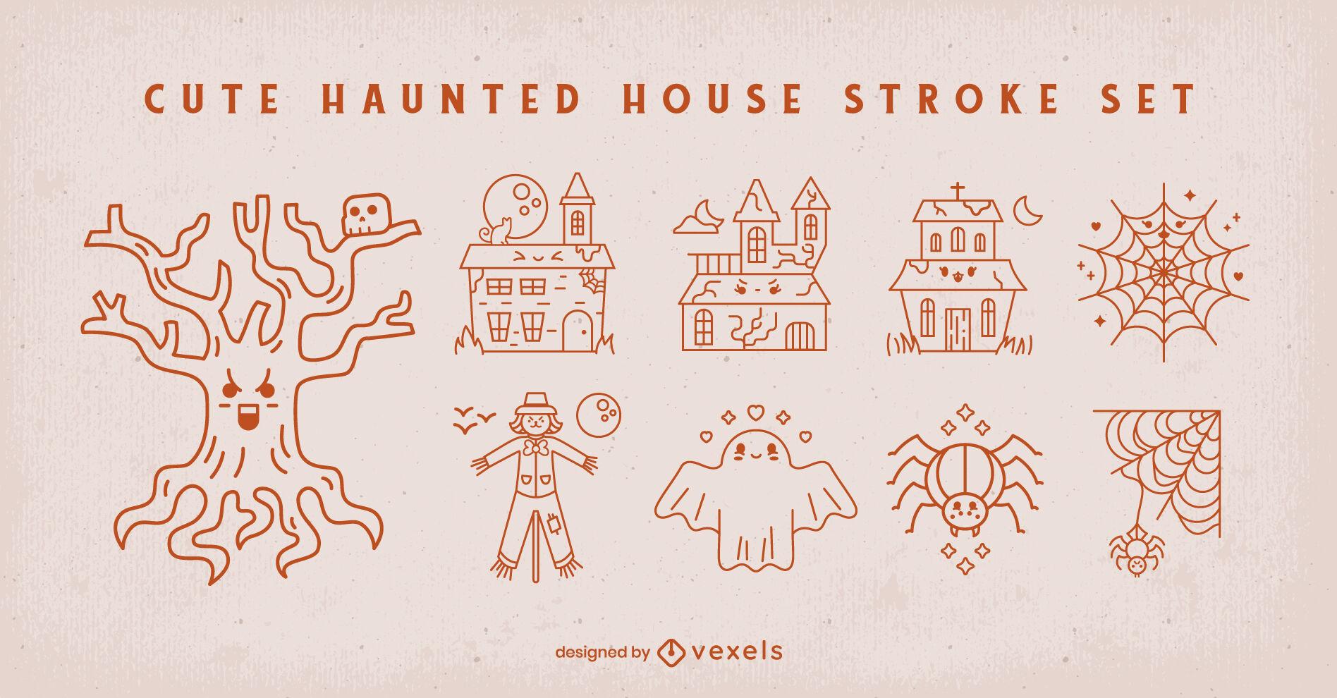 Haunted house halloween cute stroke set