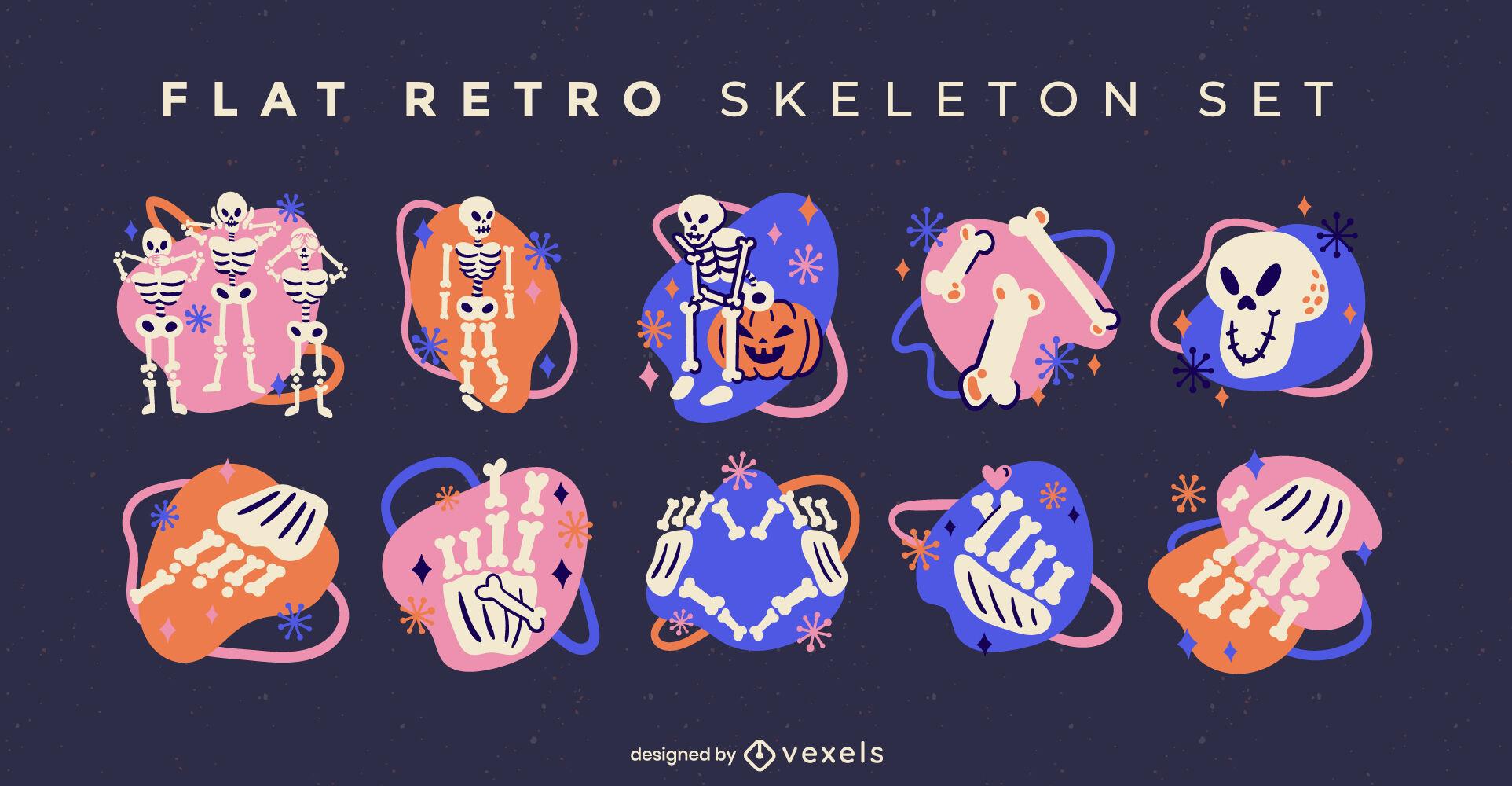 Conjunto retro de calaveras y esqueletos