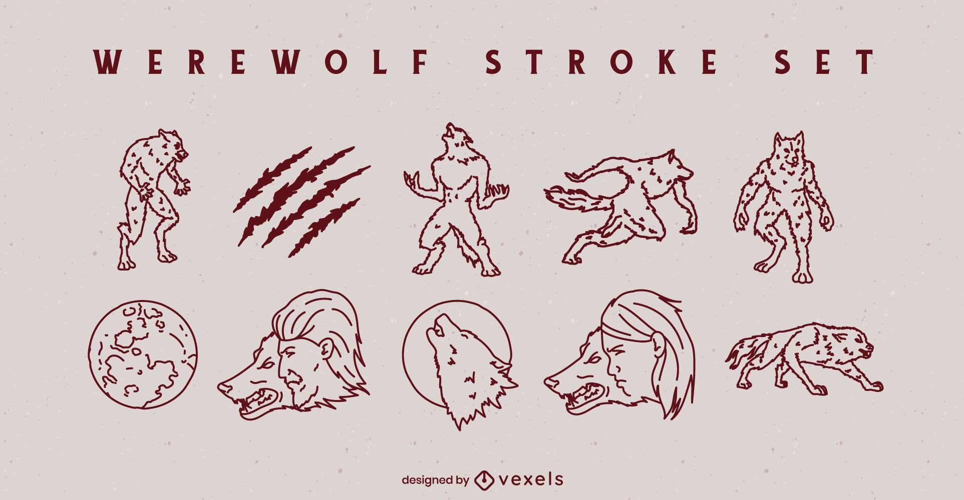 Werewolf monster characters stroke set