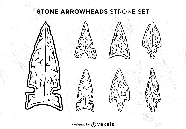 Native arrowhead illustrations set stroke