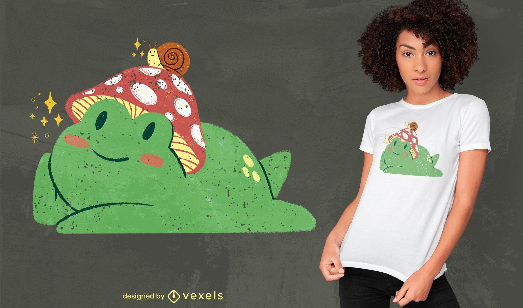 Süßer Frosch mit Pilz- und Schnecken-PSD-T-Shirt-Design