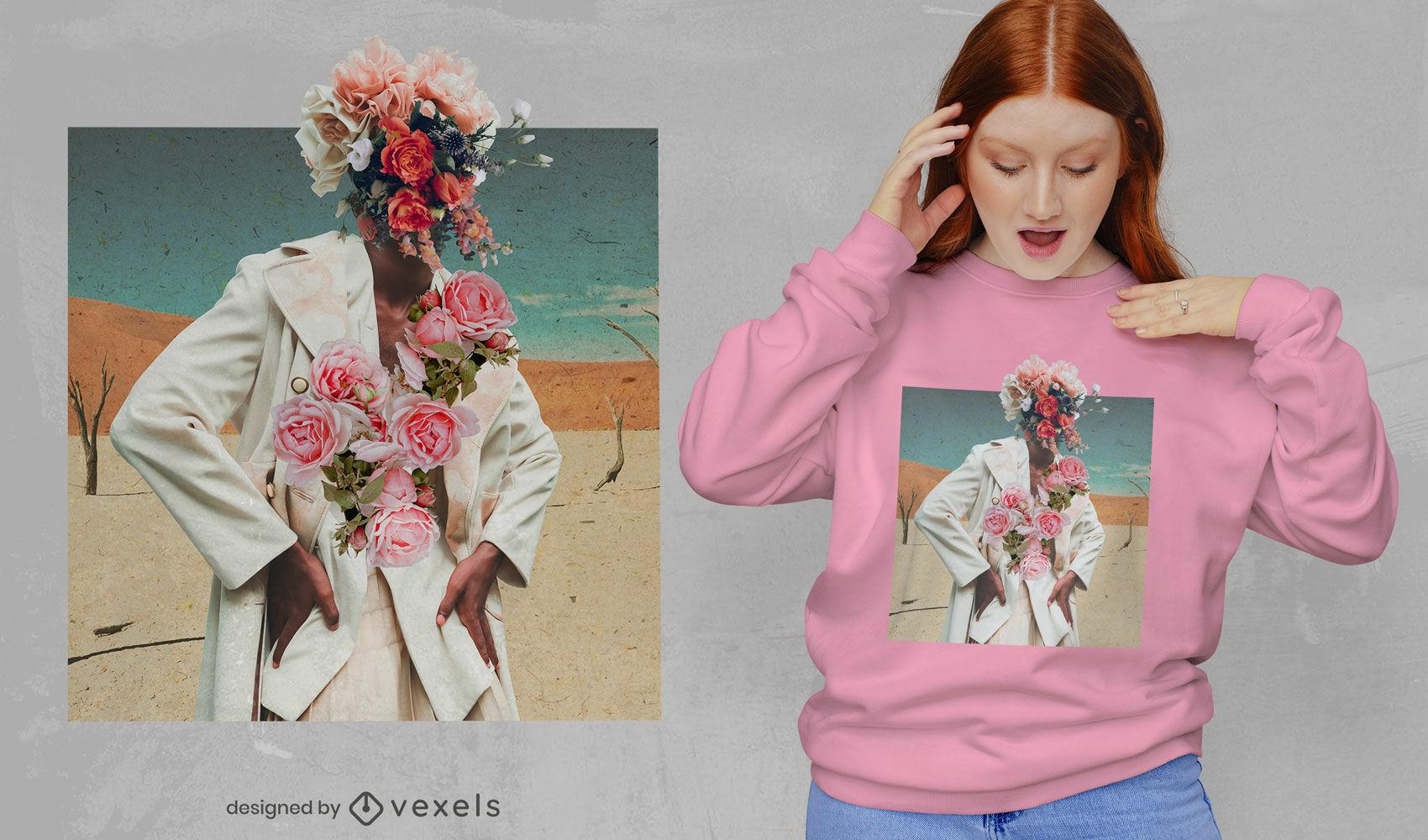 Flores modelo ni?a collage psd dise?o de camiseta