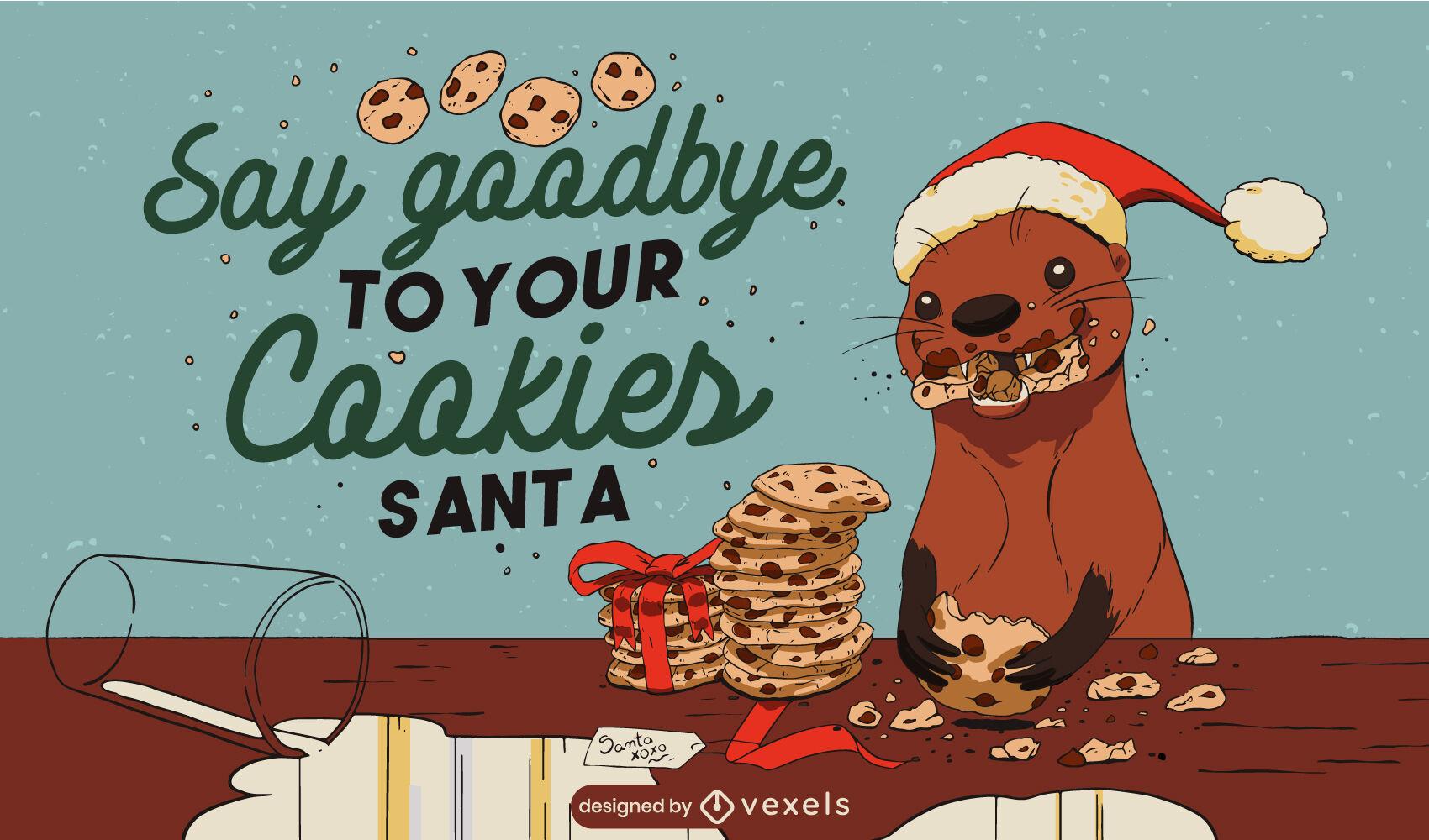 Ilustração de lontra comendo biscoitos de natal