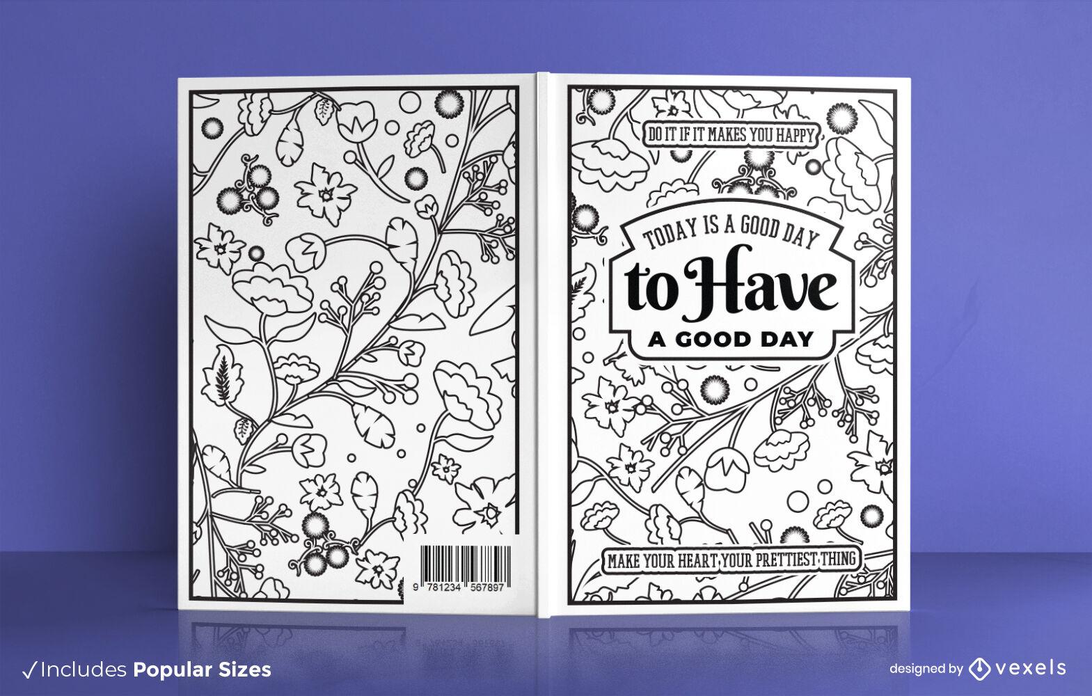 Diseño de portada de libro para colorear motivacional floral