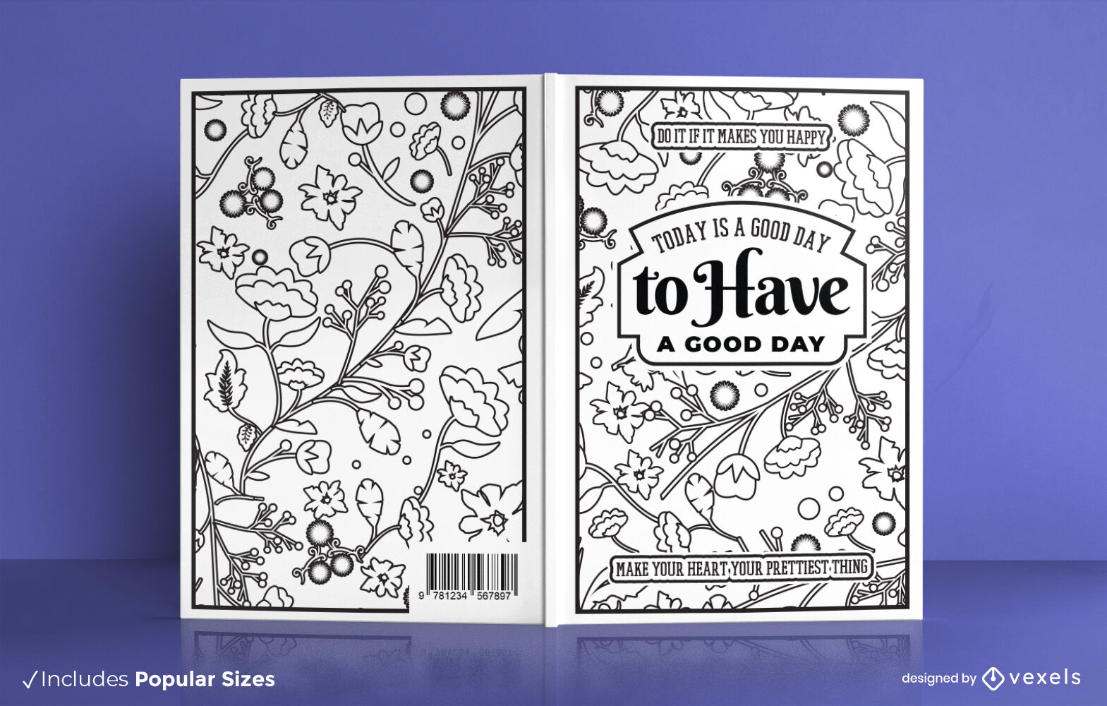 Floral motivational coloring book cover design