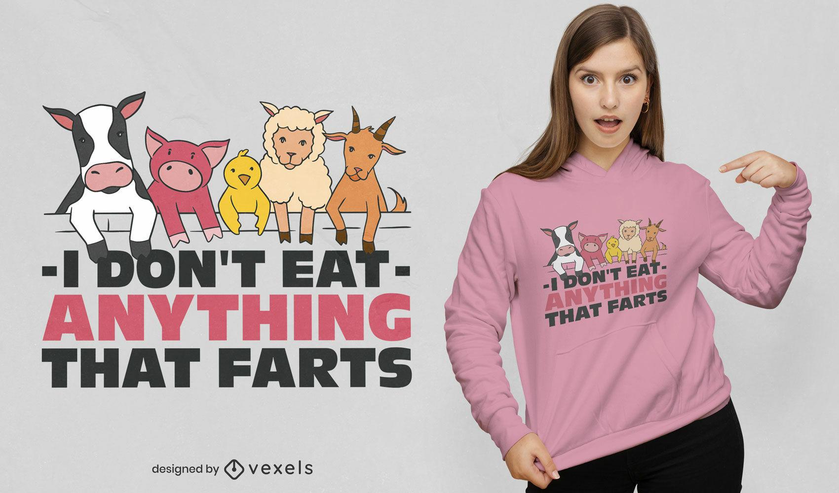 Design engraçado de t-shirt com citações veganas
