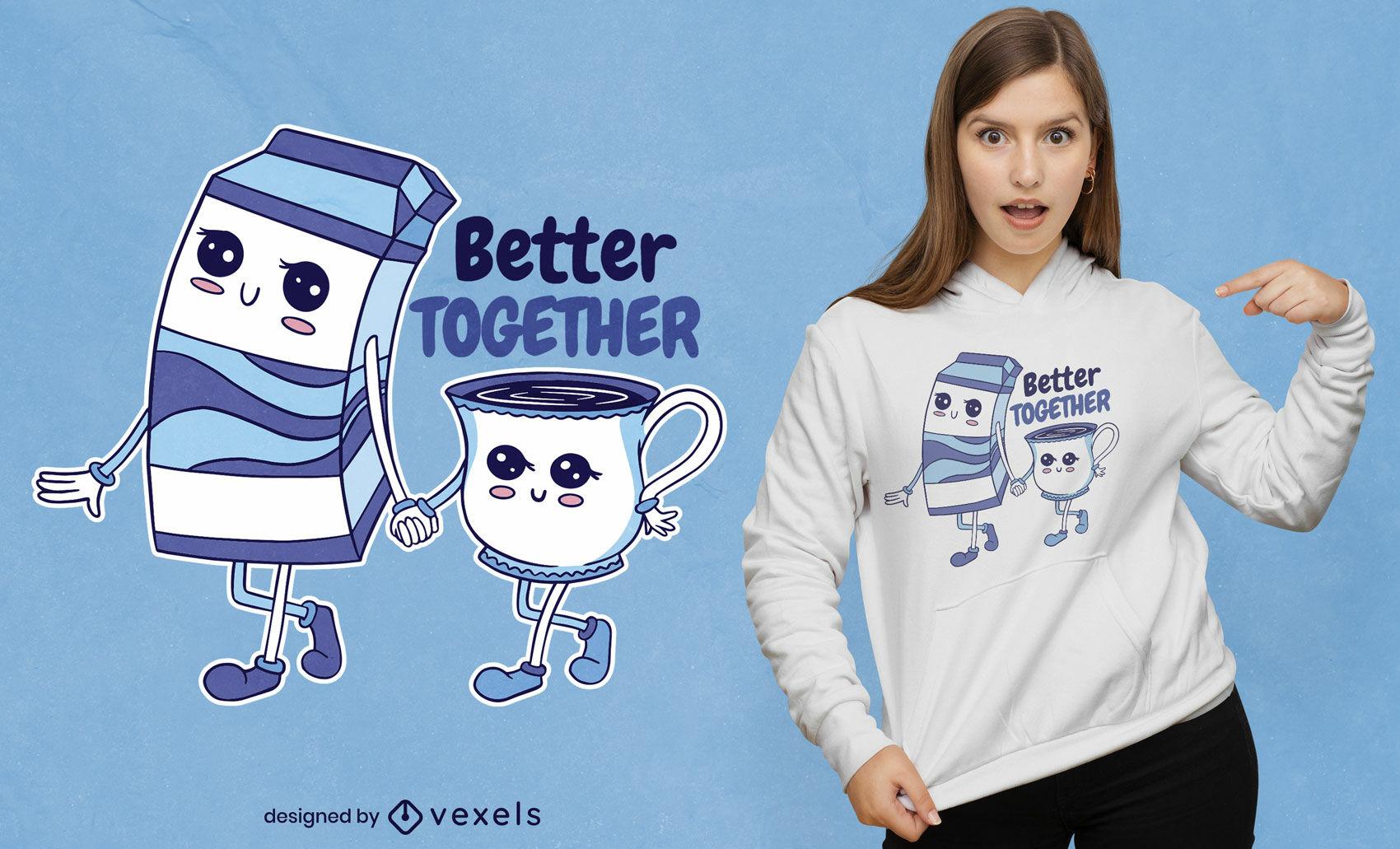 Süßes T-Shirt Design mit Milch und Tasse