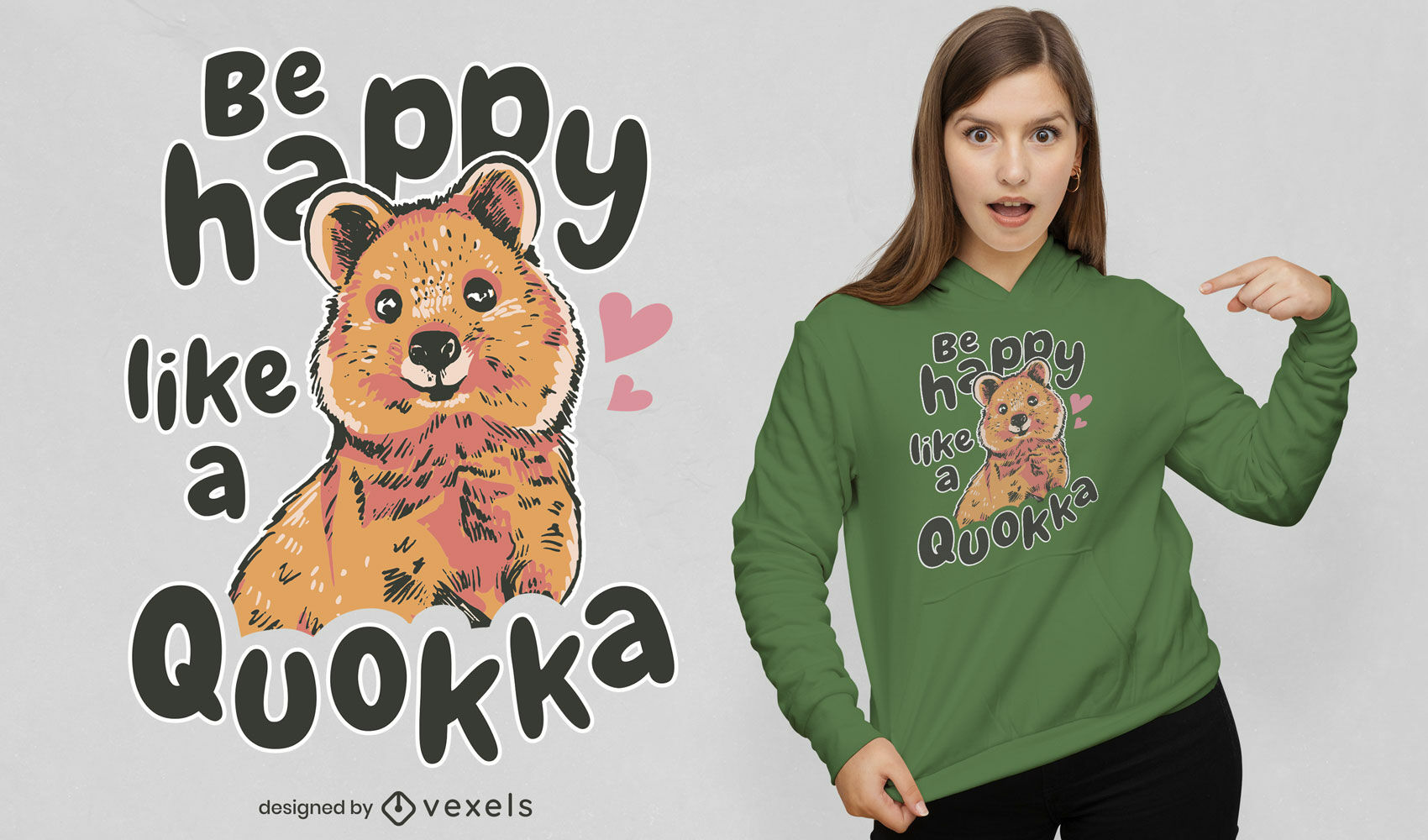 Design fofo de t-shirt de quokka feliz