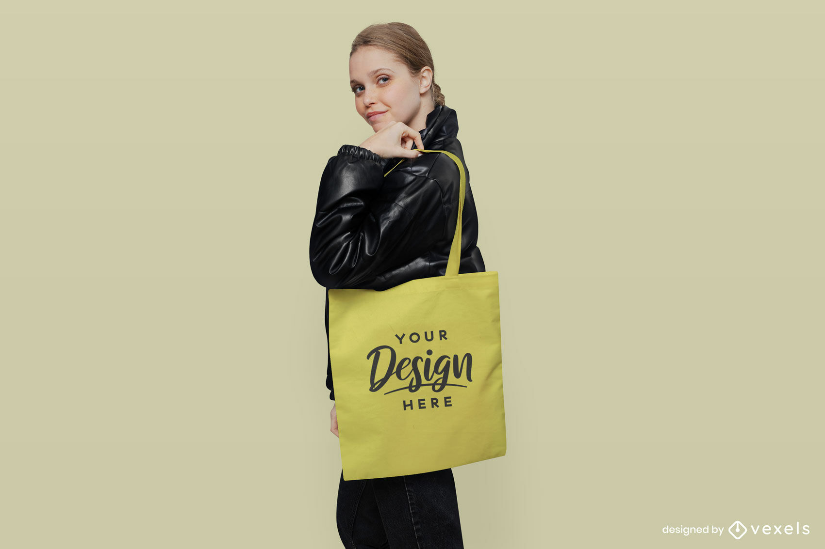 Bolso tote amarillo chica en maqueta de chaqueta negra