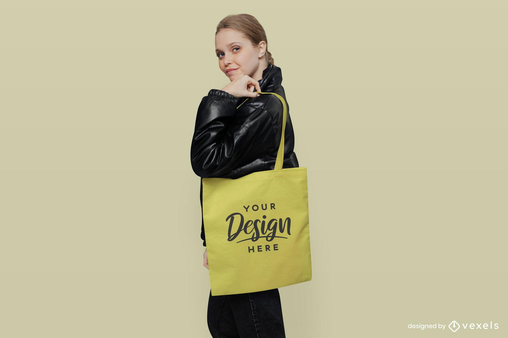 Yellow tote bag girl in black jacket mockup