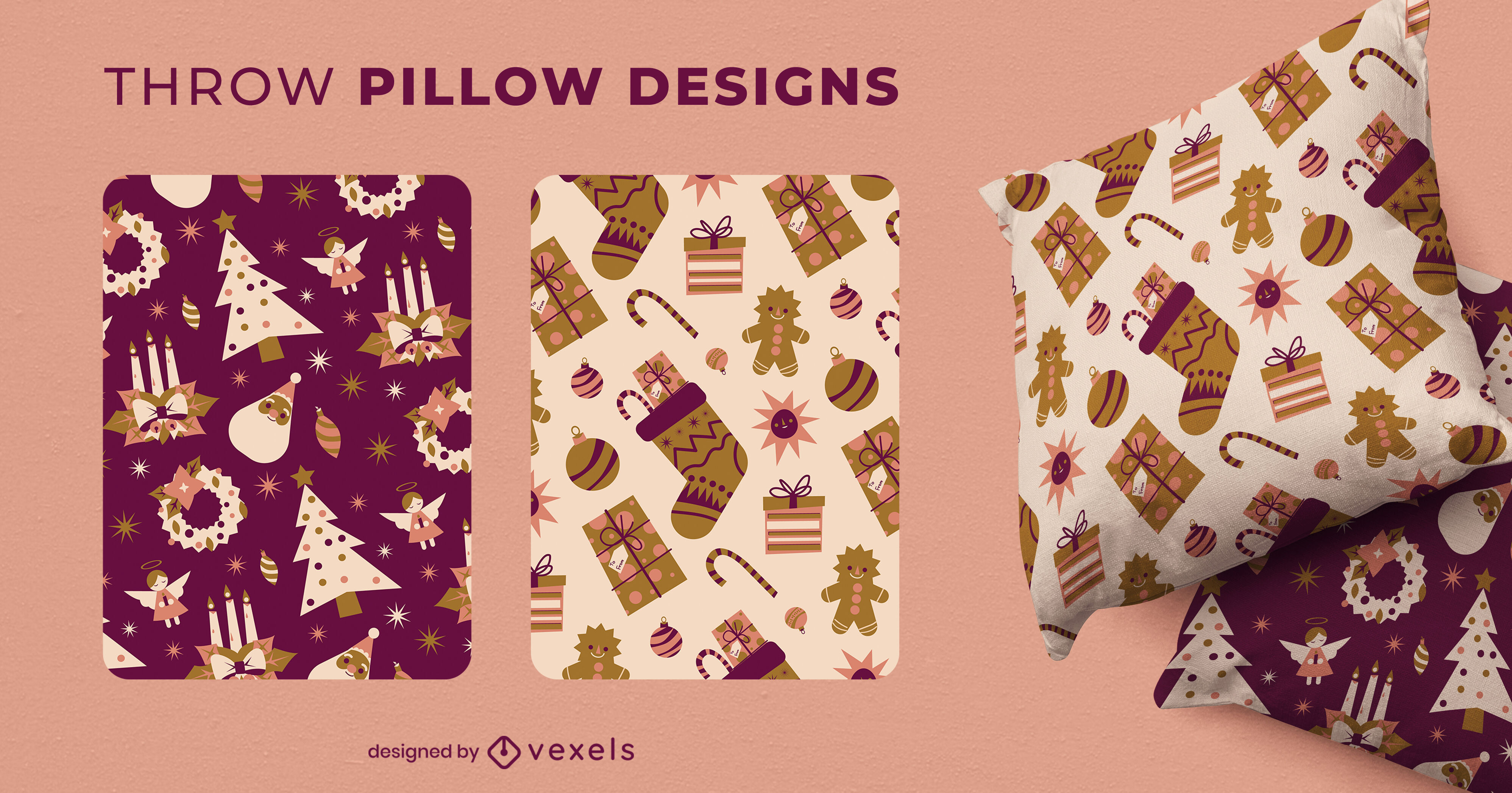 Christmas gifts holiday throw pillow design