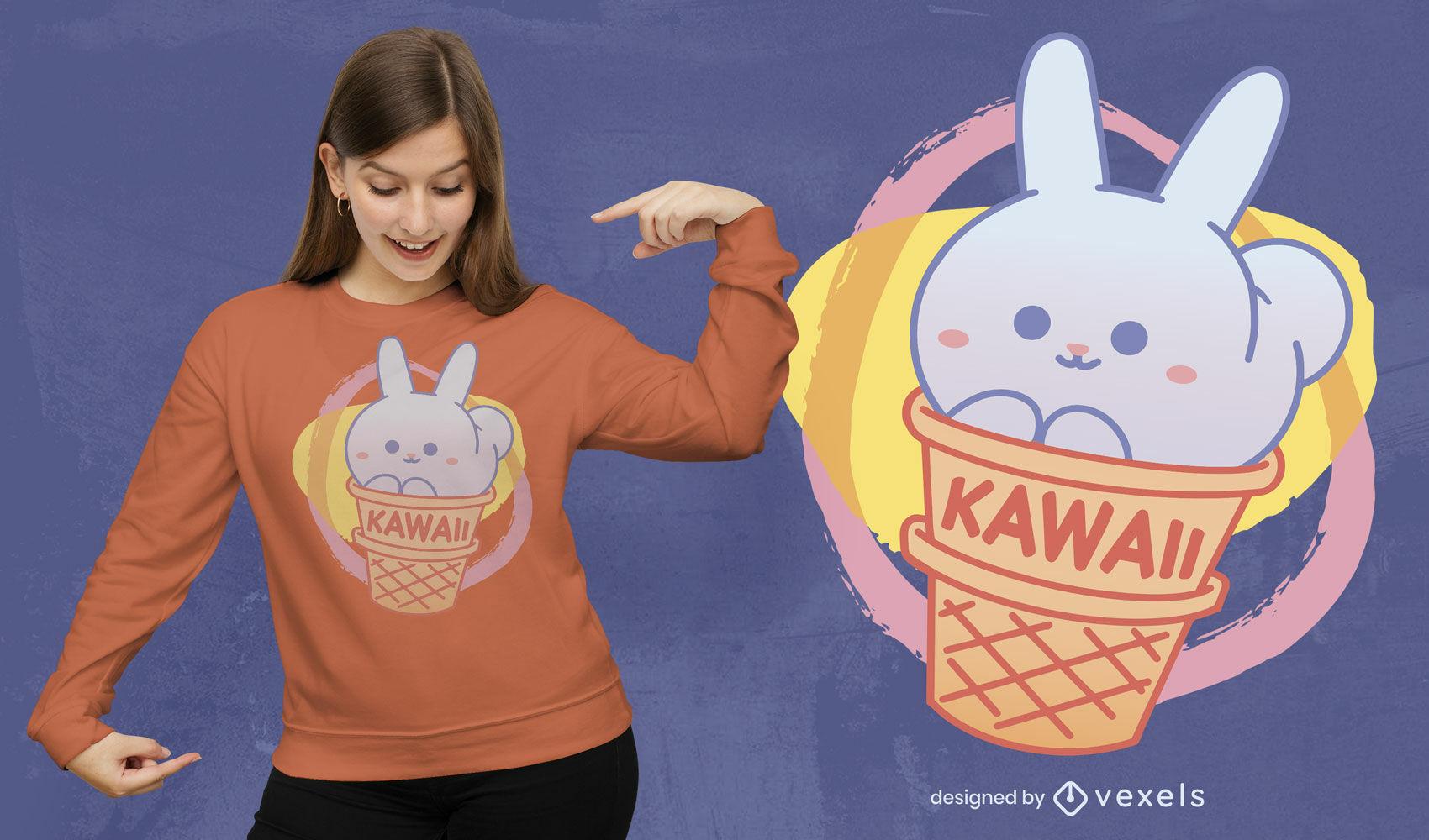 Diseño de camiseta de conejito kawaii