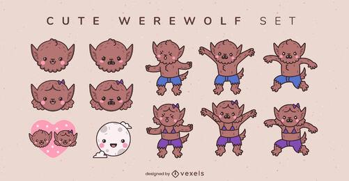 Cute baby werewolf monster character set
