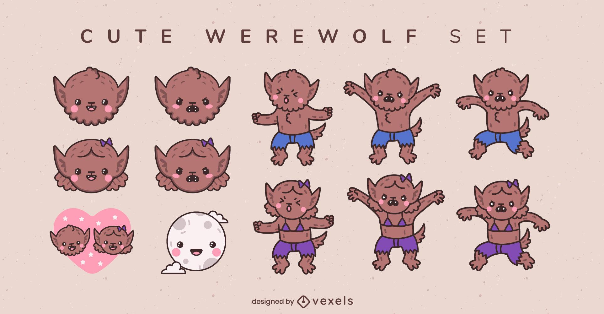 Conjunto de caracteres de monstruo lindo beb? hombre lobo