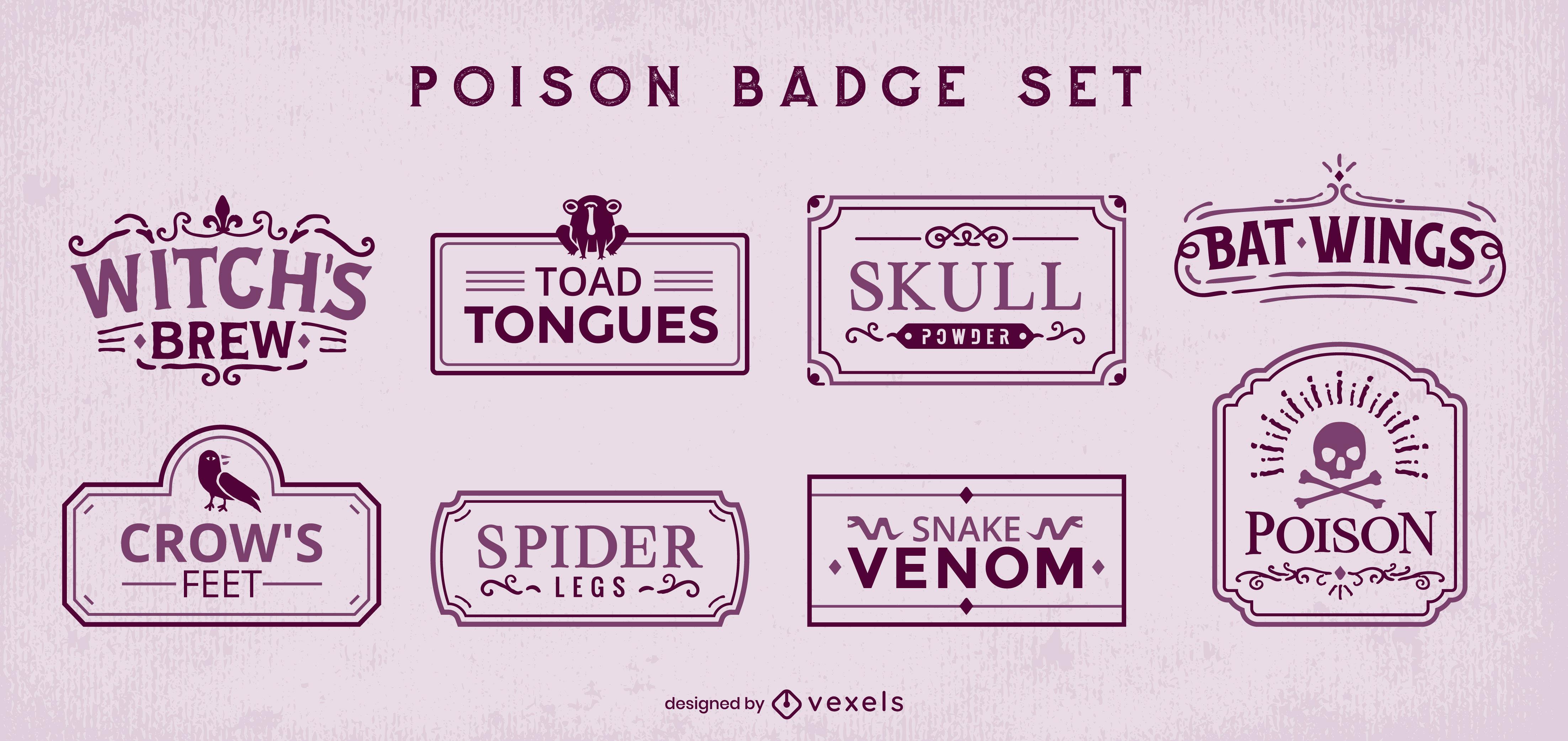 Poison witchcraft set of stroke badges