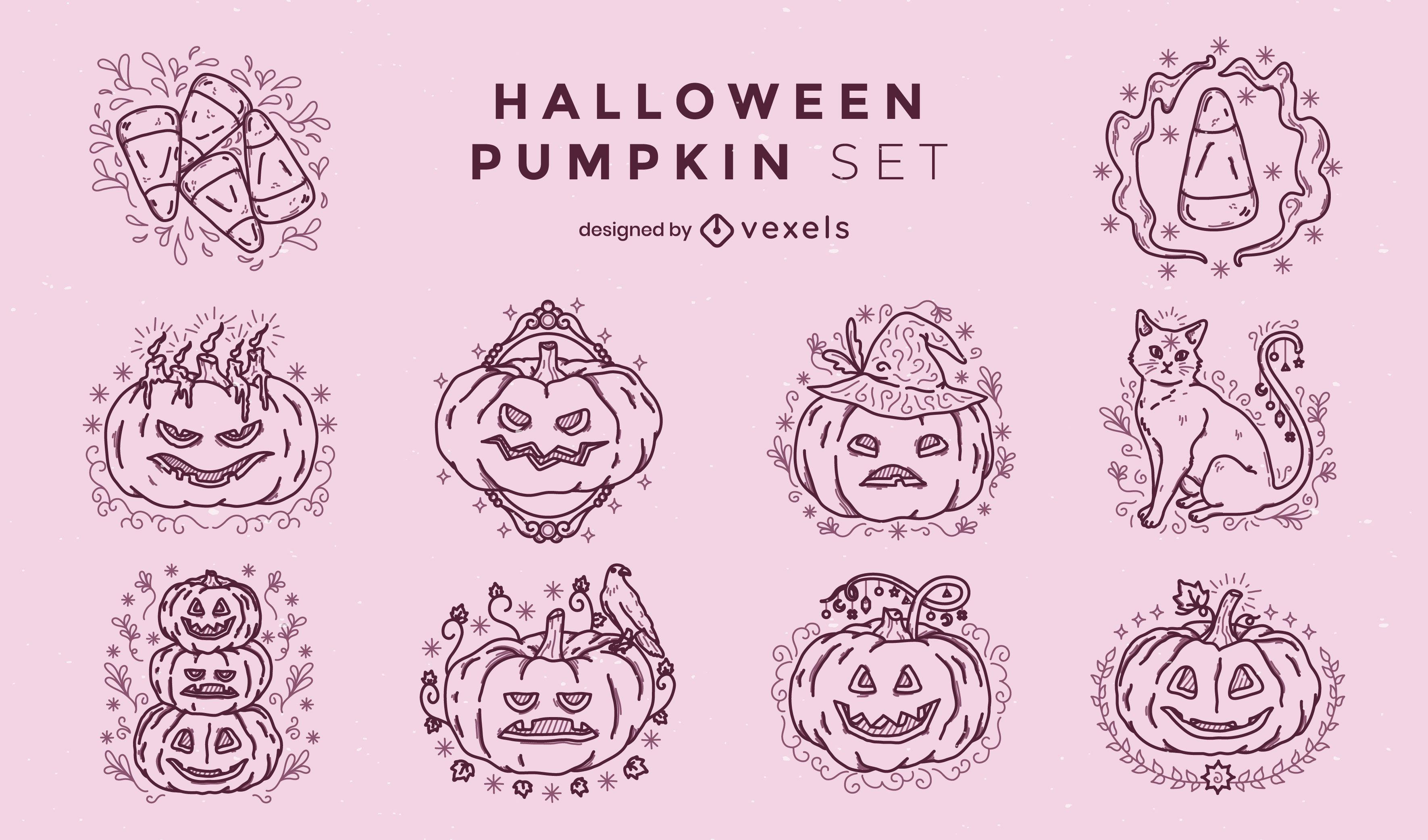 Halloween pumpkins holiday stroke set