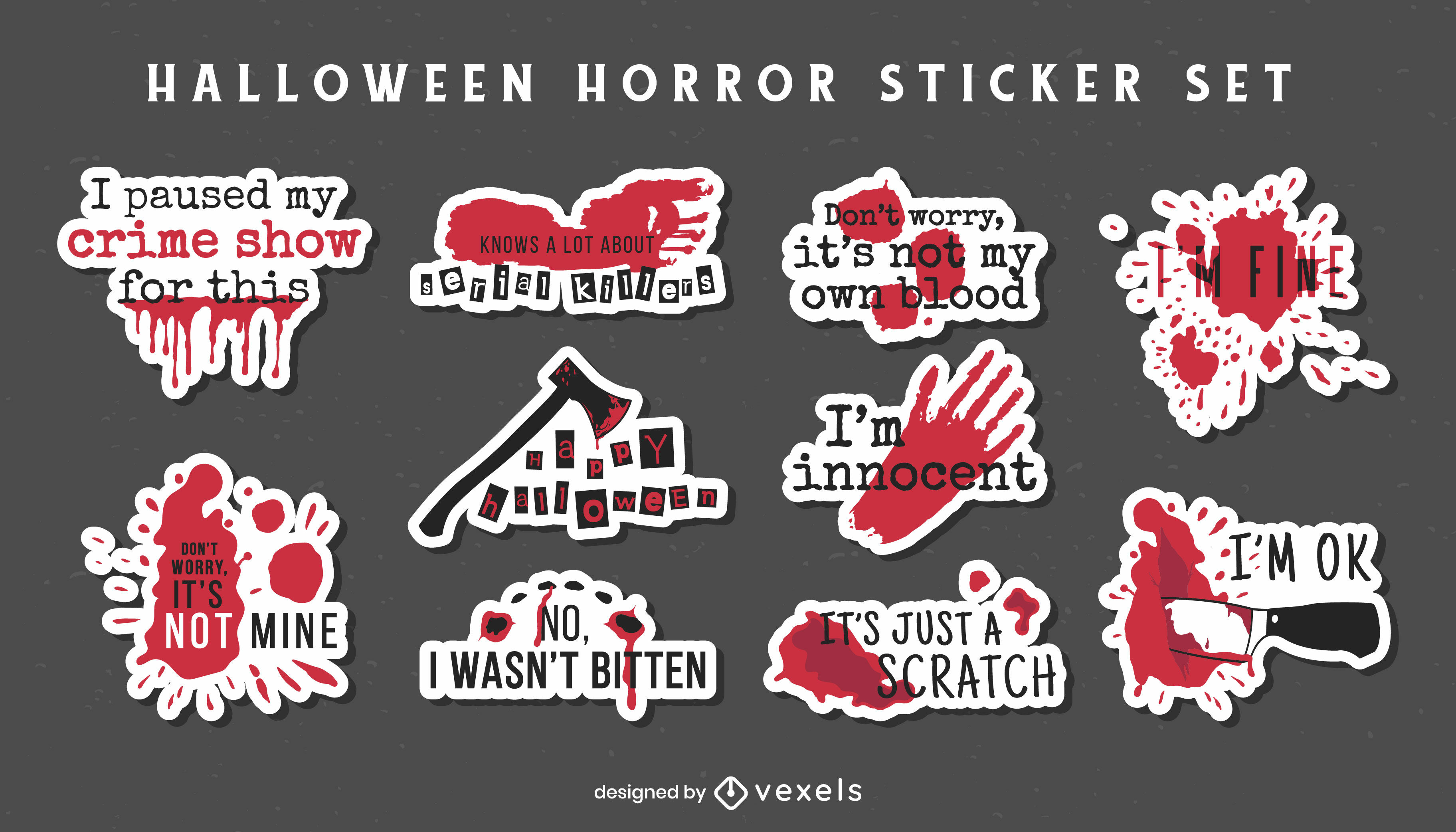 Halloween bloody horror stickers quotes set